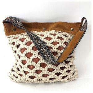 Lucky Brand Crochet Hobo Embroidered Boho Bag